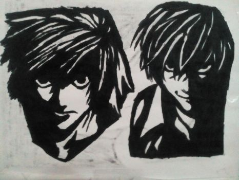 L and Kira (Death Note) by TheFuckingPuppet