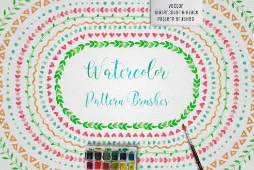 Watercolor and Black Pattern Brushes by HelgaHelgy
