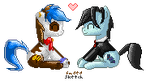 Commission: Kushell x CardShuffler Pixel Ponies by FadedSketch