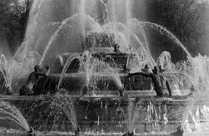 France palace of Versailles Latona Fountain 1970s by BlackWhitePictures