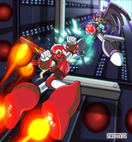 Mega man vs Bass by Seonidas