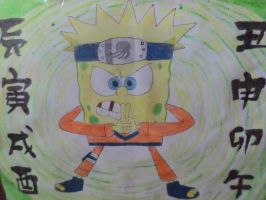 Draw of Spongebob as Naruto by Jarquin10