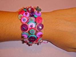 button clusters - bracelet by colourful-blossom