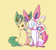 Sylveon Leafeon Cellshade by OminousEcho