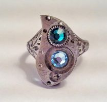 Tear Drop Steampunk Ring by SteamDesigns