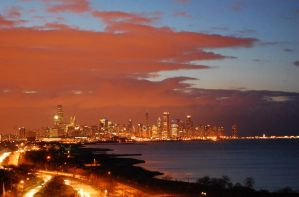 Red Sky over Chicago by Saledin