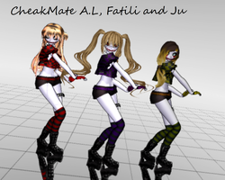 Cheakmate A.L, Fatili and Ju (MMD) by Lisica1213