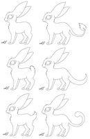 Free bunny cat lineart sheet (MS Paint friendly) by NightFever100