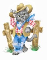 Howdy Maam!  Russian Blue Cowboy Cat by bigcatdesigns
