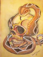 Skull and Snake by tallgirl09