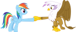 Rainbow Dash And Gilda Doing A Hoof Fist Bump by TomFraggle