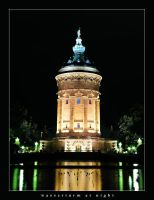 wasserturm at night by fxcreatography