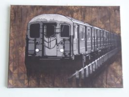 ny train canvas by Vincoo
