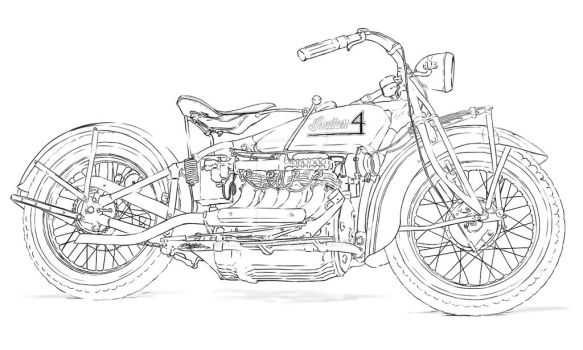 Motorcycle Pinup lineart by sky-5hark