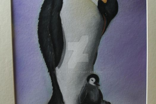 Pastel of Emperor Penguin by suesuzanne