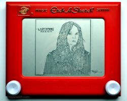 Ladyhawke Anxiety Cover Art Etch a Sketch by bryanetch