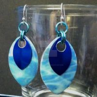 Pool Party Double Scalemaille Earrings by Rosie-Periannath