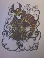 coloured samurai warrior with cloud effect by gbftattoos