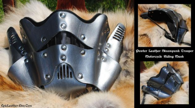 Pewter Trooper Leather MC Mask by Epic-Leather