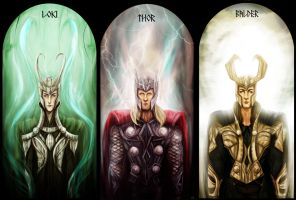 Loki, Thor and Balder by kaetiegaard