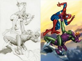 Spider Man vs Green Goblin by bennyotavio