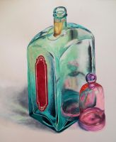Glass Bottles Watercolor by Cryssari