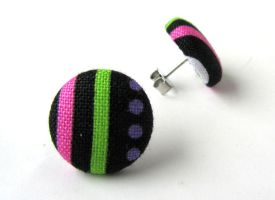Stud earrings button green pink black stripes by KooKooCraft