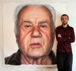 Mixed media portrait of my Grandfather by DinoTomic
