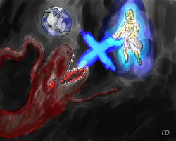 Super Saiyan Jesus Vs. Satan by CorporalDogmeat