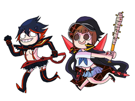 ryuko and mako by Wowza-Wowzers