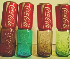 coke cans still life by loobyloukitty