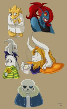 Undertale doodles by Mary-Hurricane