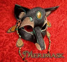 Black Monarch Fox Mask by merimask