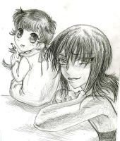 Akito and daughter FB sketch by AmberPalette