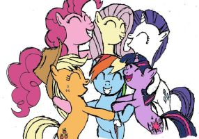 Mane Six Hugging by DoctorSpectrum