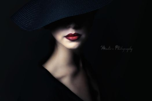 Red lips and Black hat by Biselva