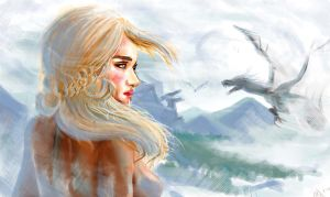 Daenerys Targaryen and Dragons by Phoenixboy