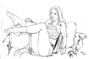 Supergirl in her stockings by Parabolastar