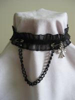 Black Ruffle Chokers - Cross by mad-hatter-inc