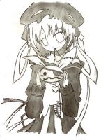 gothic anime girl with bunny by dreameronPoT