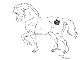 Equine Dean Winchester LINEART by SharysAogail