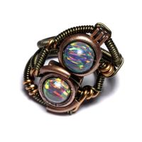 Stemapunk Ring Duo Lab Opal by CatherinetteRings