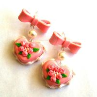 Miniature Pink Heart Cake and Bows Earrings by FatallyFeminine