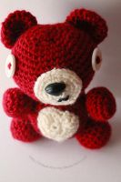 red teddy bear by theyarnbunny