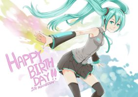 Happy birthday Hatsune Miku ..5 th anniversary by joeyzsrk