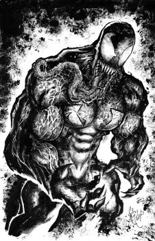 Venom Acrylic Black and White by ChrisMcJunkin