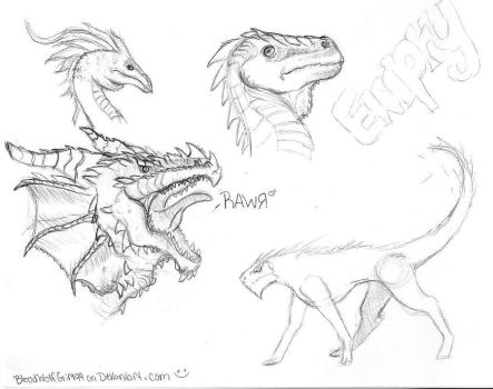 Dragon Sketches by BloodWolfGirl99