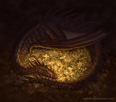 Smaug and his hoard by isolde