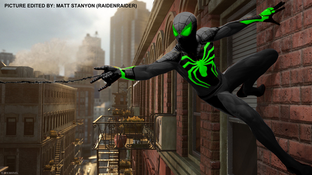 Spider-Man PS4 - Fan Poster (Green Stealth Suit) by RaidenRaider