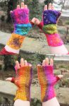 Boho crocheted granny square mittens - for sale ! by MademoiselleOrtie
